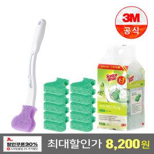 크린스틱 변기청소 핸들+향기톡톡 리필 11입 청포도