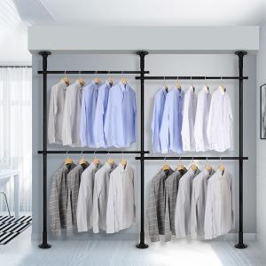 4단 스크류 행거 옷걸이 옷 헹거 드레스룸 시스템 블랙