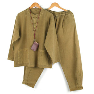 면100% 봄 가을 남성 생활한복 공용 개량한복 풀색SET