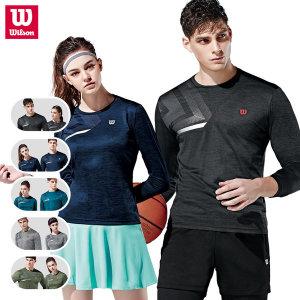 윌슨 라운드 긴팔티셔츠 테니스 운동복 착용감 UP