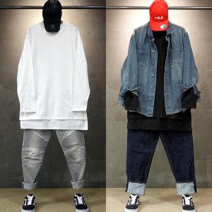 빠숑 오버핏 레이어드티 롱 트임 긴팔/티셔츠/남자티