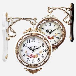 (BYON) 엔틱 글루미 양면시계 / 벽시계 인테리어 무소음 벽걸이 집들이 시계