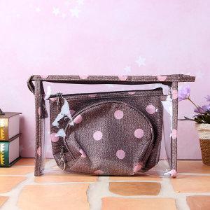 도트 파우치 3종세트/화장품가방 투명파우치 수영가방
