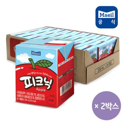 [피크닉] 피크닉 사과 200ml 48팩/쥬스/주스/과채/과즙/음료