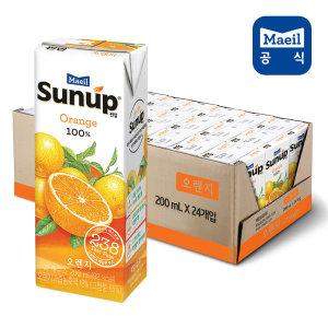 썬업 100% 오렌지 200ml 24팩/쥬스/주스/과즙/음료