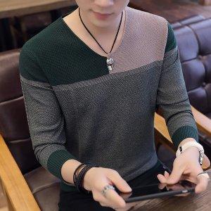 남성 니트티 스웨터 브이넥 티셔츠 빅사이즈 가을hk56