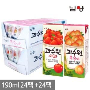 과수원 사과/복숭아 190ml 24+24팩 (총 48팩)
