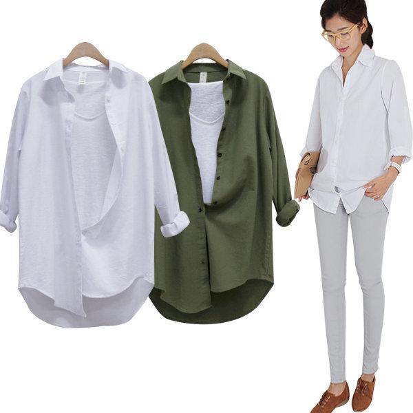 롱남방/기본롱셔츠/화이트롱셔츠/흰남방 도브무지롱