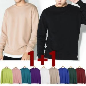 1+1라운드넥 티셔츠 맨투맨/무지/남자/남성/여성/기모