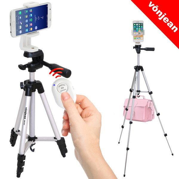 본젠 KM-542D 고급 스마트폰 삼각대 + VCM-W563G 거치대 + S3 블루투스 리모컨 SET (핸드폰 카메라 등)