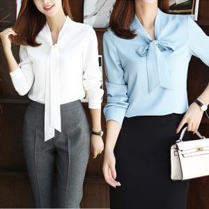 타이 리본 여성셔츠 정장블라우스 면접 유니폼 긴팔