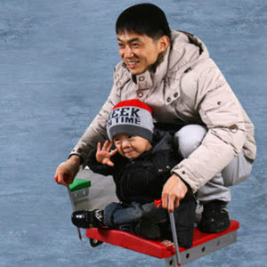 얼음썰매/스케이트 (본체+스틱2개1조)눈썰매 스키