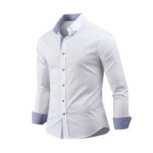 남자 셔츠 긴팔 배색스판 남성 남방 와이셔츠 sh2598