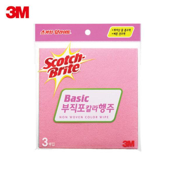 3M 스카치브라이트 부직포 칼라 행주 3매