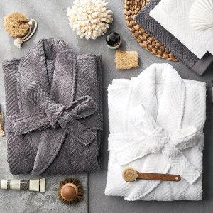 40수 헤링본 목욕가운/샤워가운 커플잠옷