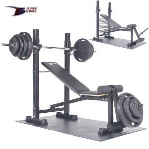 포스스포츠 (국산)각도+레그벤치 블랙원판10~80kg세트
