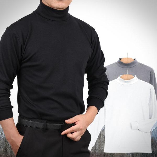 중년체형에 딱좋은 면스판 목폴라 장목/반목 티셔츠