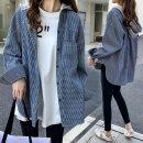 여성 후드 남방 셔츠 가을 여자 체크 긴팔 자켓