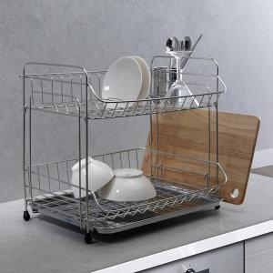 아몬드골드 2단 식기건조대 싱크대선반 설거지 그릇
