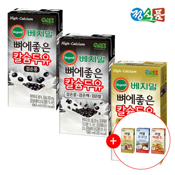 베지밀 뼈에좋은칼슘두유 190ml 3가지 48팩+음료 1박스