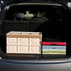 자동차 트렁크정리함 수납용품 SUV 접이식30L 브라운