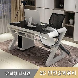 W100 Z강화유리책상 사무실 PC 컴퓨터 키보드 철제