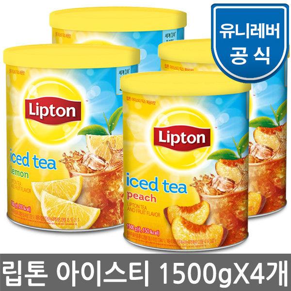 립톤 아이스티 복숭아 1500gx4개/음료/홍차/음료수
