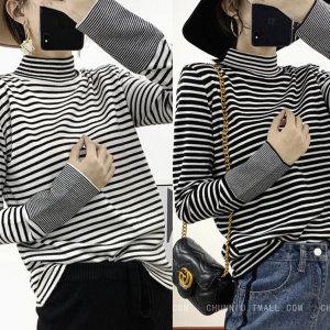 여성 의류 옷 겨울 니트 스웨터 반 폴라 티 셔츠 줄