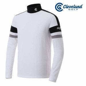 (현대Hmall) 클리브랜드골프  소프트웜 레이온기모 컬러블록 하이넥 남성 긴팔티셔츠/골프웨어_CGKMTS604-W