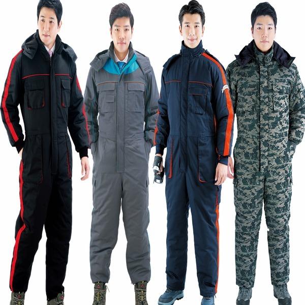겨울작업복 솜패딩스즈끼 겨울정비복 상하일체형