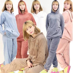 포근한 후드밍크잠옷 여성상하세트 수면잠옷 홈웨어