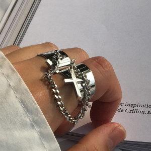 바보사랑  남자 반지 패션 십자가 체인 연결 써지컬 스틸 TSL