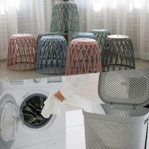 대용량 빨래바구니 세탁바구니 수납바스켓 보조의자