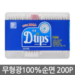 디팁스 나무 위생면봉 200p 사각케이스 귀이개 포함