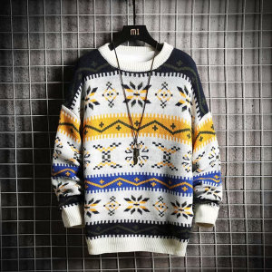 남성 노르딕 패턴 겨울 라운드넥 니트 스웨터 NT114