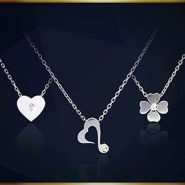 실버 92.5 천연 다이아몬드 목걸이 기념일 연인 선물