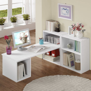 DIY 풀세트 넓은 좌식책상 공간박스 책장 2개 포함15T