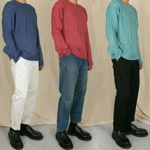 YS 남녀공용 라운드 피셔맨 니트 스웨터