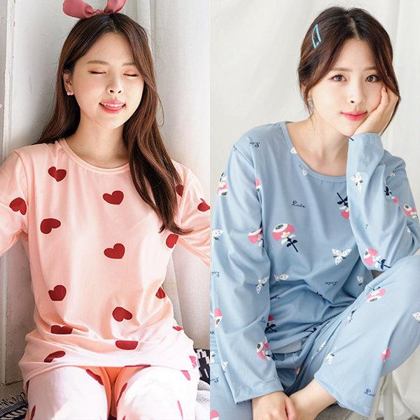 여성 잠옷 홈웨어 파자마 상하의세트/봄 가을 간절기