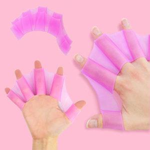 핑크 M 사이즈 개구리 물갈퀴 오리손 물놀이용품