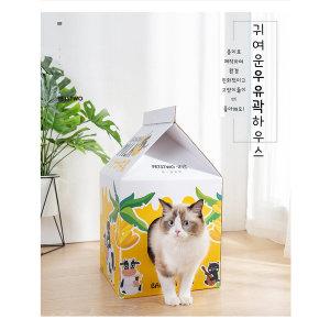 고양이 숨어숨어 우유곽 하우스 집 스크래쳐 박스집