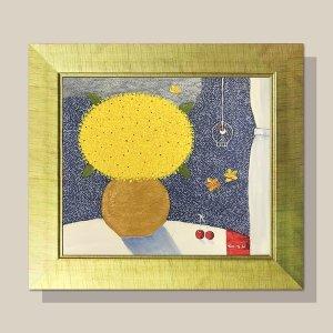 부귀의 꽃그림 그림액자 유화그림 풍수그림(금색)12호