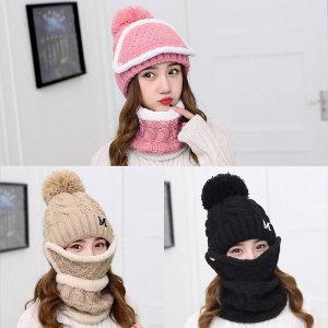 겨울 방한 니트 기모 모자+넥워머+마스크 세트