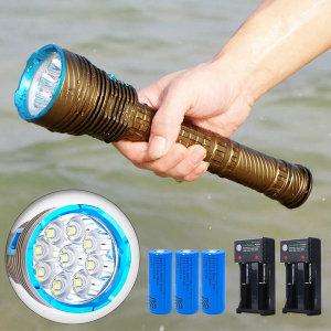9구 LED 해루질렌턴 방수후레쉬 수중랜턴 10000루멘