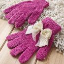리본 달린 여성 겨울장갑 판촉용 단체선물 털장갑