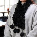 블랙 방울 목도리 겨울패션 렉시퍼 토끼털 머플러