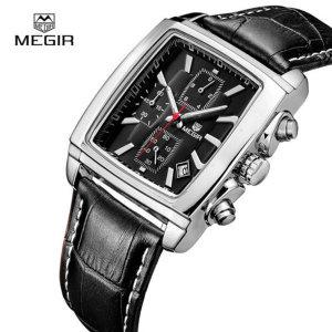 MEGIR 2028G 남성용 쿼츠 사각 가죽 손목시계 2색상