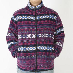 노르딕 스노우 패턴 플리스 자켓 포근한 후리스 자켓
