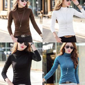 여성티셔츠/폴라티/여성긴팔/목티/무지/흰/면/티셔츠