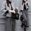 가을 겨울 여성복 모직 반코트 와이드 팬츠 패션 세트